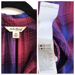 Lucky Brand Tops - Lucky Brand plaid embroidered button up pullover